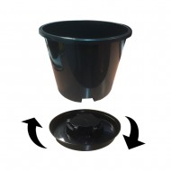 Pack of FOUR - Twist 'N' Lock Grow Pots - Large 15 litre Container Pots with Saucers - Perfect for Fruit Trees